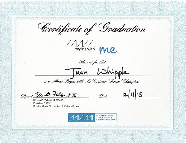 Miami Begins With Me Certificate